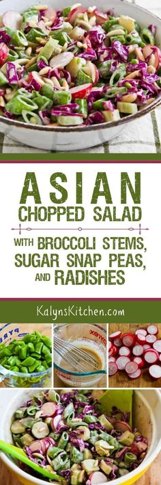 I love salads with plenty of crunch, and this low-carb Asian Chopped Salad with Broccoli Stems, Sugar Snap Peas, Radishes, Red Cabbage, and Almonds is one of my favorites! Save the stems the next time you make broccoli so you can make this tasty salad! [found on KalynsKitchen.com]
