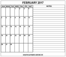 printable 2017 february calendar