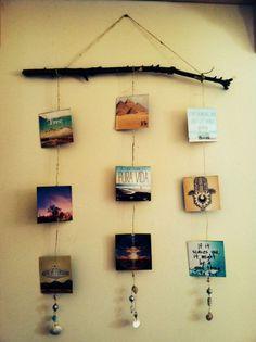 Om zelf te maken grote tak touw en foto's kaartjes plaatjes wat je maar wilt