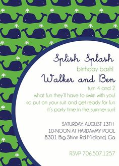 Nautical InvitationWhale Invitation Nautical Theme Party Boys
