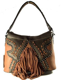 Montana West Concealed Carry Purse w/ Fringe - Brown