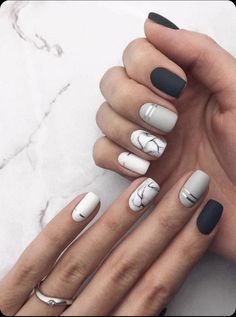 31 Stylish Marble Square Nail Designs Marble nails are a kind of nail art design which imitates the appearance of marble. Nail Art Designs, Square Nail Designs, Marble Nail Designs, Short Nail Designs, Acrylic Nail Designs, Nails Design, Matte Nail Art, Cute Acrylic Nails, Spring Nail Art