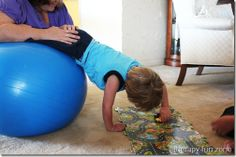 Activities to do in prone on a therapy ball for upper extremity strengthening, upper extremity range of motion, trunk strengthening, shoulder stability, and using an involved extremity.@Mary Powers Powers Powers Devine Therapy Center-for all of our pins, please visit our page at pinterest.com/pedthercenter/