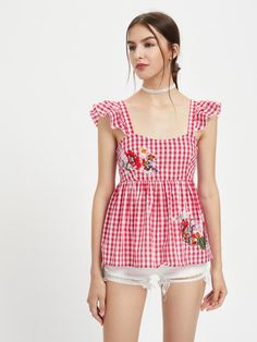Embroidered Flower Patch Ruffle Strap Gingham Babydoll Top