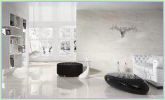 Excellent Ceramic Tile Suitable With Modern or Classic Interior Design : Luxurious Living Room Pure White Ceramic Tile Black Puff Swing Sofa Living Room White, White Rooms, Living Rooms, White Walls, Diy Design, Interior Design, Design Ideas, Design Blogs, Floor Design