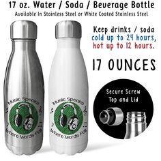 Soda Water Bottle - Music Speaks Where Words Fail 001, Music Lover, DJ, Musician, Singer, Gift Idea, Stainless Steel Reusable Bottle