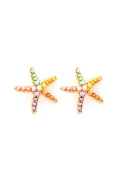 Sorbet Starfish Earrings - Golden Starfish finished with Tiny Mint, Blush, Lavender, Coral and Yellow Beads.