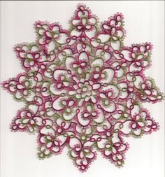 Tatted Doily in Rose, burgundy & greens ( I love the way the colors came out in this one!)