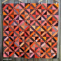 Jaffa choc orange quilt top by WombatQuilts