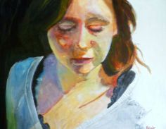 Painting a portrait with acrylic on yupo paper, step by step painting tutorial by SANDRINE PELISSIER