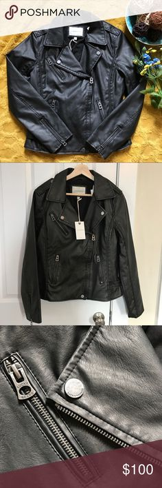 Lucky brand motorcycle jacket This faux leather Moto jacket feels like real leather. It is a dark charcoal gray, almost black. Very comfortable and stylish for fall! Brand new with tags! Lucky Brand Jackets & Coats