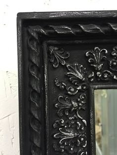 Graphite, Old White (dry brushed), and clear wax. The Black Sheep Shoppe: A Variety of Mirrors Refinished with Chalk Paint