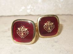 Pair of Knights of Columbus K of C Gold Filled Red Cufflinks