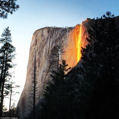 Yosemitie's natural firefall at Horsetail Fall (not to be confused with the man-made firefall that was ended in the 1960s)