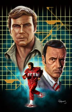 The Six Million Dollar Man (1974–1978)   Action ~ Adventure ~ Crime   After a crippled test pilot is rebuilt with nuclear powered limbs and implants, which give him increased speed and strength and the ability to see long distances. To pay the US Government back the $6,000,000 it cost to rebuild him, Austin goes to work for the Office of Scientific Investigation as an agent   Artwork by Lawrence Reynolds [©2010-2015 vividfury]