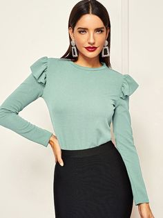 To find out about the Ruffle Trim Solid Tee at SHEIN, part of our latest T-Shirts ready to shop online today! Latest T Shirt, Ruffle Trim, Flare Dress, Blouse Designs, Cool T Shirts, Fashion News, Cold Shoulder Dress, Clothes For Women, Casual