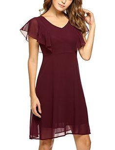 a7d19a9fbab ALOFA Womens Gorgeous V Neck X Line Sexy Falbala Cuffs Ab... https  Dress  ...