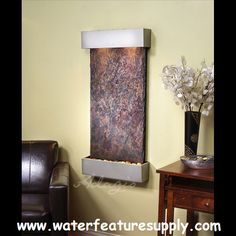 Adagio Whispering Creek Fountain with Blackened Copper Finish - Multi-Color Natural Slate Indoor Wall Fountains, Indoor Fountain, Water Fountains, Indoor Waterfall, Tabletop Fountain, Slate Stone, Water Walls, Metal Trim, Outdoor Walls