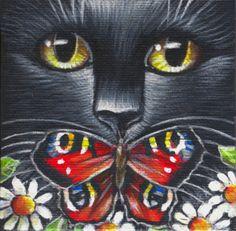 Black Cat Mini Painting Mini Paintings, Animal Paintings, Illustration Art, Cat Illustrations, Cat Character, Cat Decor, Cat Crafts, Cat Face, Crazy Cats