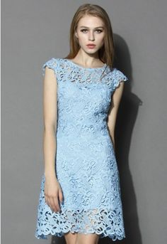This is a dress of great possibilities. You can pair it with heels and a clutch to show off your flattering silhouette, or go edgy with a leather jacket to mix it up, or add a knitted cardigan for a casual date. Either way, the bright blue color and exquisite crochet pattern will create a flawless look for you.  - Concealed side zip closure - Full lined - 80% Cotton  20% Polyester - Machine washable  Size(cm) Length  Bust  Waist XS              102       84      66  S               102      …