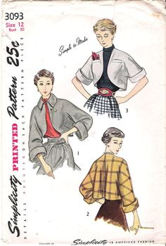 Vintage 1950s Bolero Jacket Sewing Pattern, Simplicity 3093, Offered on Etsy by GrandmaMadeWithLove, $10.00