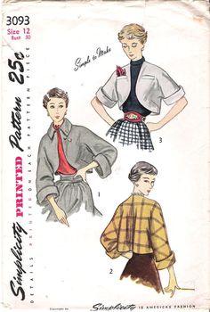 Vintage 1950s Bolero Jacket Sewing Pattern, Simplicity 3093
