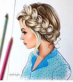 Pencil Portrait Mastery - Natalia Vasilyeva - Discover The Secrets Of Drawing Realistic Pencil PortraitsNatalie Vasilyera/week Coloured Pencil /Eduardo / It have so many destails,and really good shape. Girly Drawings, Art Drawings Sketches, Amazing Drawings, Amazing Art, Hair Illustration, Hair Sketch, Dibujos Cute, Color Pencil Art, Human Art