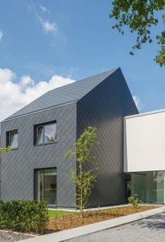 Dakwerken: wat zijn de richtprijzen op de markt? Foto: www.eternit.be (geruite leien • gevelplaten • dakplaten • nieuwbouw • modern)