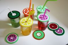 For today, I'm gonna share with you 13 lovely hama bead designs to do with your kids at weekends. All of these perler bead designs are in cute. Perler Beads, Hama Beads Coasters, Melty Bead Patterns, Beading Patterns, Mosaic Patterns, Loom Patterns, Art Patterns, Bracelet Patterns, Knitting Patterns