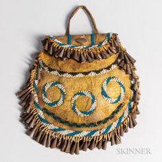 Apache Beaded Buffalo Hide Bag