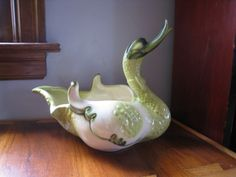 Mid Century vintage Hull duck planter bowl dish. Large green duck bowl, marked 69. by PickleladyVintage on Etsy