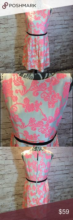 STUNNING ANN TAYLOR LOFT DRESS Check out this beauty. Gorgeous brocade material of rayon, polyester and silk blend. The background is a very pale gray with a vibrant pink pattern, exposed zipper and black ribbon trim. NWOT LOFT Dresses