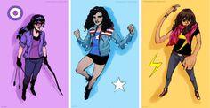BAMF Young Lady Superheroes of Marvel: Kate Bishop (Hawkeye), America Chavez (Miss America), and Kamala Khan (Ms. Marvel).