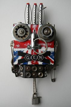 """Spirit of 77"" (Punk bot)-Recycled art collage    www.etsy.com/shop/redhardwick"