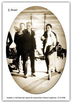 Atatürk ve Afet İnan Ege vapuru ile Samsun'dan Trabzon'a giderken. 27.11.1930
