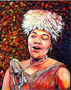 """ARTFINDER: Cry me a river ( Ella Fitzgerald ) by DASMANG (Gary Aitken ) - The third installment in the Jazz Divas series is """"The First Lady of Song,"""" Ella Fitzgerald . Favorite quote from Ella is """"I stole everything I ever heard, . Jazz Art, Ella Fitzgerald, Maybe Someday, Interesting Faces, African Art, Black Art, River, Cry, Artwork"""