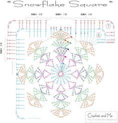 crochet slow flake square free chart