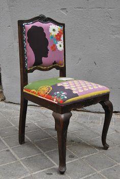 La Tapicera: Silla descalzadora tapizada con tela retro japonesa