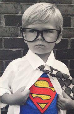 Beware evil doers everywhere! Jimmy as Clark Kent aka Superman.