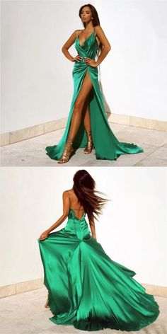 Sexy V-Neck Prom Dresses 2017 Floor Length With Split