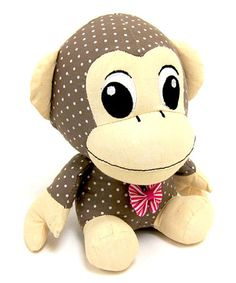 Take a look at this Brown & White Dotted Fabric Monkey Bookend by Concepts on #zulily today!
