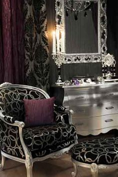 glamour ..... I like the idea of the chair and footstool so you could have a visitor while you did your makeup maybe?