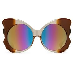 Matthew Williamson Rainbow Mirrored Butterfly Sunglasses ($320) ❤ liked on Polyvore featuring accessories, eyewear, sunglasses, rainbow, rainbow sunglasses, mirror lens sunglasses, mirrored lens sunglasses, rainbow lens sunglasses and acetate sunglasses