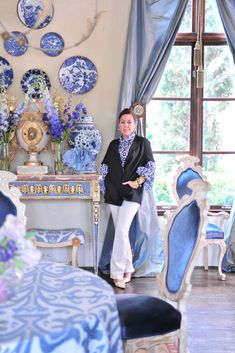 """Nothing simultaneously calms and excites the eye as much as blue and white. My entire bedroom is blue and white striped with chino..."