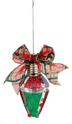 This is so cute.   Crafts Glitter Panels Bulb Ornament #ornaments #craft #christmas