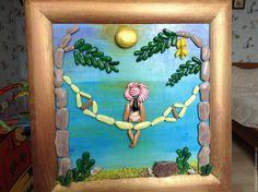 Купить картина из морской гальки Морской пейзаж, отдых на гамаке - бирюзовый, картина для интерьера