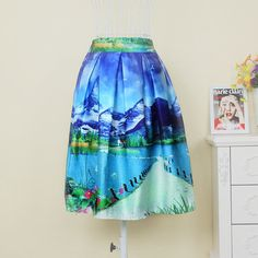 The new 2015 women's fashion landscape architecture pattern satin fabric skirts printing design high waist tutu skirts Price: US $15.68