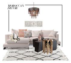"""Moroccan home"" by farnazarsalann ❤ liked on Polyvore featuring interior, interiors, interior design, home, home decor, interior decorating, Lucky Brand, Pottery Barn, Fraiche and Pier 1 Imports"