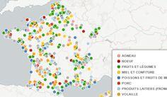 Carte des producteurs en circuit court (France Bleu)