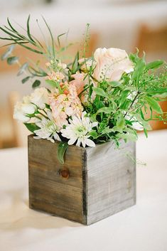 rustic wedding centerpieces pastel bouquet with white and pink roses in a wooden box connie dai photography garden wedding 42 Rustic Wedding Centerpieces Fancy Ideas Wooden Box Centerpiece, Rustic Wedding Centerpieces, Wedding Flower Arrangements, Flower Centerpieces, Wedding Decorations, Centerpiece Ideas, Wedding Crafts, Centrepieces, Diy Wedding